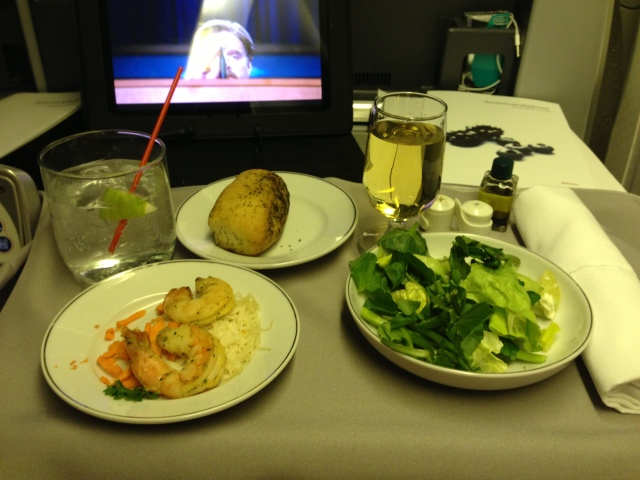 American Airlines First Class -- Salad and shrimp